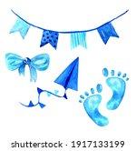 watercolor baby boy blue...   Shutterstock . vector #1917133199