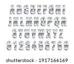 metal 3d font. realistic silver ... | Shutterstock .eps vector #1917166169