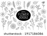 spring flowers doodle in hand...   Shutterstock .eps vector #1917186086