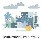 team metaphor people connecting ... | Shutterstock .eps vector #1917196019