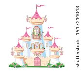 a beautiful pink castle of a... | Shutterstock .eps vector #1917214043