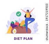 diet plan illustration. people... | Shutterstock .eps vector #1917219503