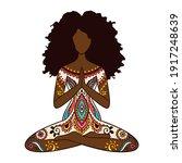 yoga girl. african american...   Shutterstock .eps vector #1917248639