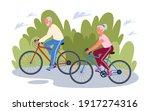 elderly senior people cycling... | Shutterstock .eps vector #1917274316