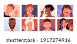 people faces  avatars community ... | Shutterstock .eps vector #1917274916