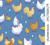 seamless pattern with cute hand ... | Shutterstock .eps vector #1917300179