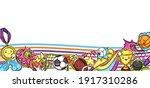 background with kawaii sport... | Shutterstock .eps vector #1917310286