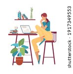 thoughtful young woman working... | Shutterstock .eps vector #1917349553