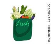 green bag with fresh vegetables....   Shutterstock .eps vector #1917367100