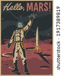 hello  mars  retro future style ... | Shutterstock .eps vector #1917389819