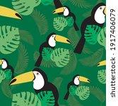 Toucan Seamless Pattern  Green...