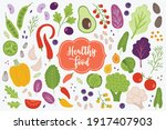 vegetables set with green pea ... | Shutterstock .eps vector #1917407903
