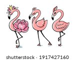three pink glamorous flamingos... | Shutterstock .eps vector #1917427160