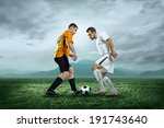 soccer players with ball in... | Shutterstock . vector #191743640