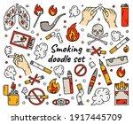 cigarette smoking vector set in ... | Shutterstock .eps vector #1917445709