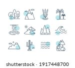 vector nature icons set. desert ...