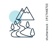 mountain and river vector icon. ...