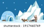 eskimo harnesses dog for sleigh ... | Shutterstock .eps vector #1917460769