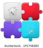 home reading. vector puzzle. | Shutterstock .eps vector #191748383