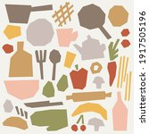 paper cut kitchen and food... | Shutterstock .eps vector #1917505196