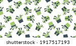 seamless pattern with green and ... | Shutterstock .eps vector #1917517193