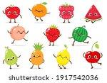 cute cartoon apple  raspberry ... | Shutterstock .eps vector #1917542036