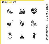 love icons set with groom with...