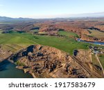 Aerial sunset view of Eastern Rhodopes near Trakiets Reservoir, Haskovo Region, Bulgaria