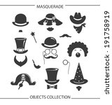 masquerade funny objects | Shutterstock . vector #191758919