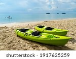 Canoes Or Kayak Sailed On The...
