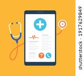 mobile phone with medical app... | Shutterstock .eps vector #1917629849