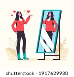 narcissistic woman looking at... | Shutterstock .eps vector #1917629930