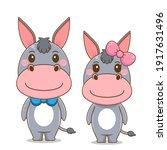 Cute Couple Donkey Vector...