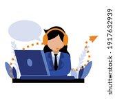 office lady customer service... | Shutterstock .eps vector #1917632939