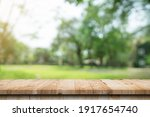 Empty Wood Table And Defocused...
