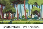 forest landscape. cartoon dense ... | Shutterstock .eps vector #1917708023