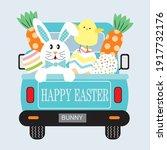 easter truck  bunny  chicken ...   Shutterstock .eps vector #1917732176