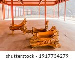 Wooden Benches Carved From Old...