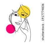 abstract woman portrait face.... | Shutterstock .eps vector #1917774836