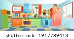 retro  ozy colored kitchen...   Shutterstock .eps vector #1917789413