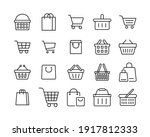 set of shopping cart line icons.... | Shutterstock .eps vector #1917812333