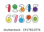 set of color numbers on white...   Shutterstock .eps vector #1917812576