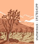 Joshua tree in the Mojave Desert within Joshua Tree National Park in California and Nevada WPA Poster Art