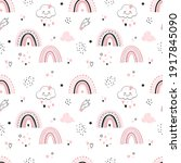 rainbow seamless pattern with...   Shutterstock .eps vector #1917845090