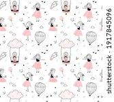 cute little girls seamless... | Shutterstock .eps vector #1917845096