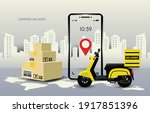 delivery package by motorcycle...   Shutterstock .eps vector #1917851396