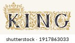the word king. vintage... | Shutterstock .eps vector #1917863033