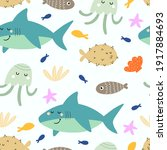 undersea seamless pattern with... | Shutterstock .eps vector #1917884693