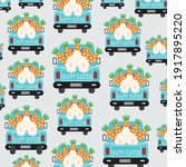 easter truck  bunny and carrot... | Shutterstock .eps vector #1917895220