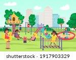 city playground in summer park  ...   Shutterstock .eps vector #1917903329